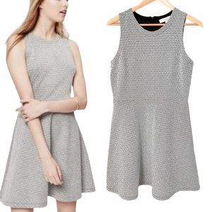 LOFT Textured Jacquard Fit and Flare Dress